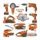 Power Tools Vector Electric Construction Equipment - GraphicRiver Item for Sale