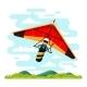 Man Flying Hang Glider Vector Flat Illustration - GraphicRiver Item for Sale