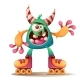 Cartoon Monster Character on Roller Skates - GraphicRiver Item for Sale