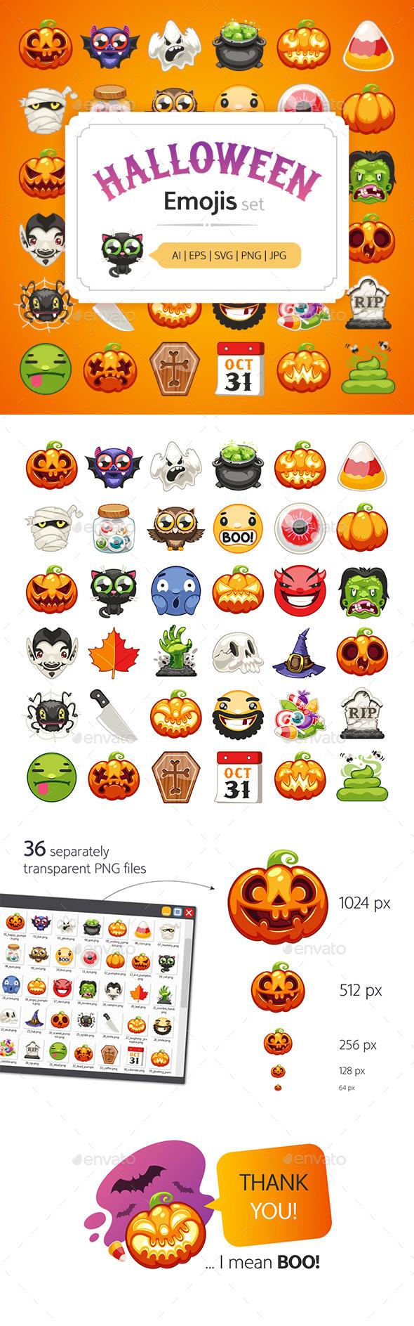 Halloween Emojis Set - Monsters Characters