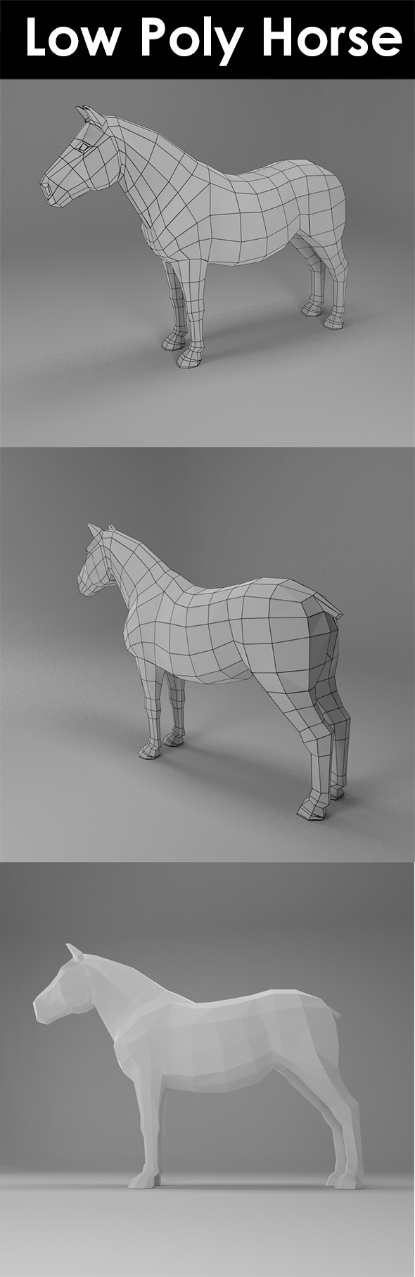 Low poly horse - 3DOcean Item for Sale