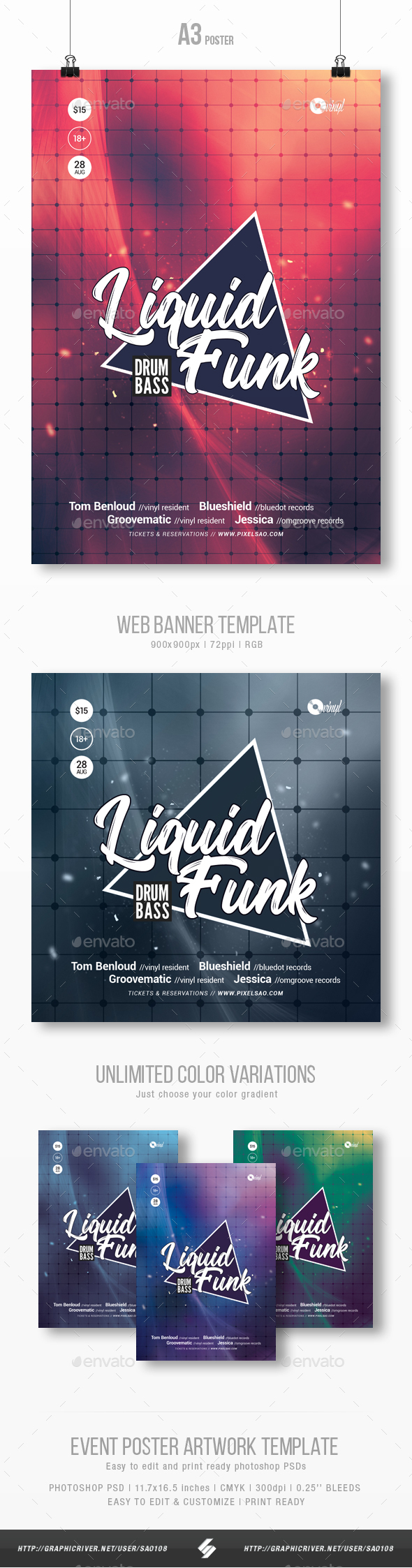Liquid Funk - Club Party Flyer / Poster Template A3 - Clubs & Parties Events