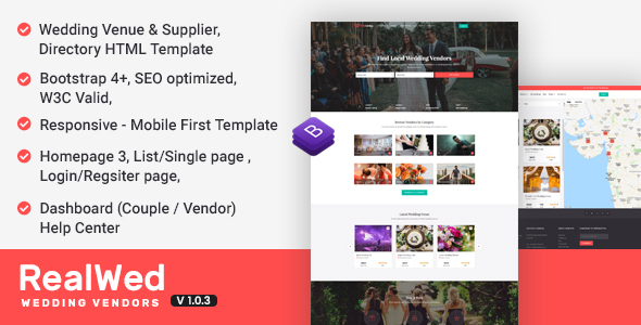 Realwed - Wedding Supplier Directory & Listing HTML Template - Wedding Site Templates