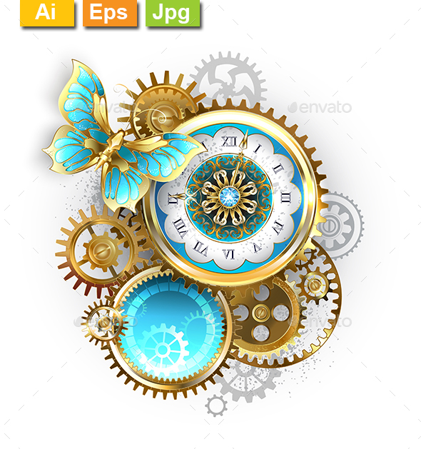 Clock and Gear with Butterfly - Decorative Symbols Decorative