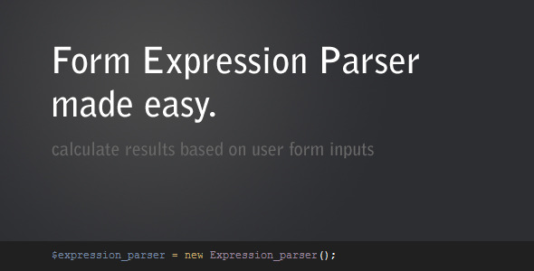 Form Expression Parser - CodeCanyon Item for Sale