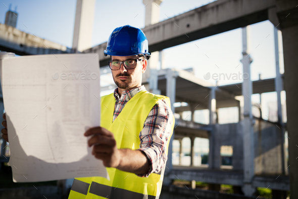 Construction foreman on the job site - Stock Photo - Images