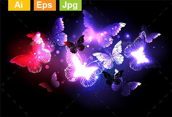 Swarm of Night Butterflies - Abstract Conceptual