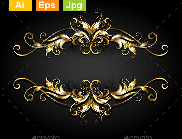 Symmetrical Gold Frame Scroll - Flourishes / Swirls Decorative