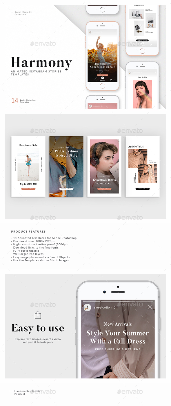 Harmony Animated Instagram Story Templates By Visualmade