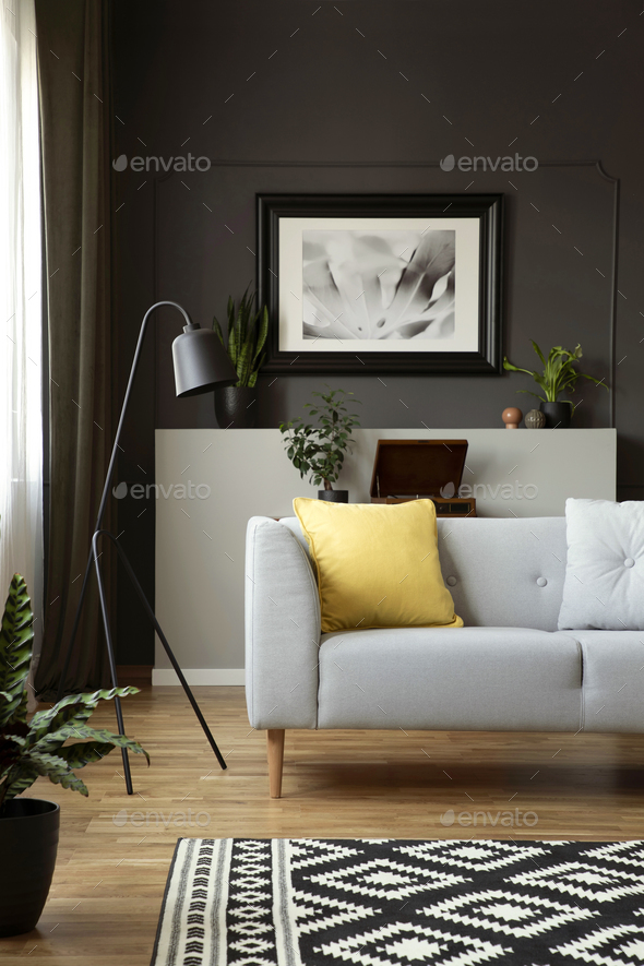 Yellow Cushion On Grey Sofa Next To Lamp In Scandi Living Room I