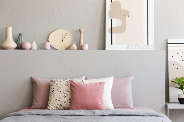 Pink And White Pillows On Grey Bed In Pastel Bedroom Interior Wi Stock Photo By Bialasiewicz