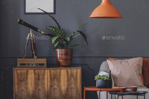 Retro grey living room interior - Stock Photo - Images