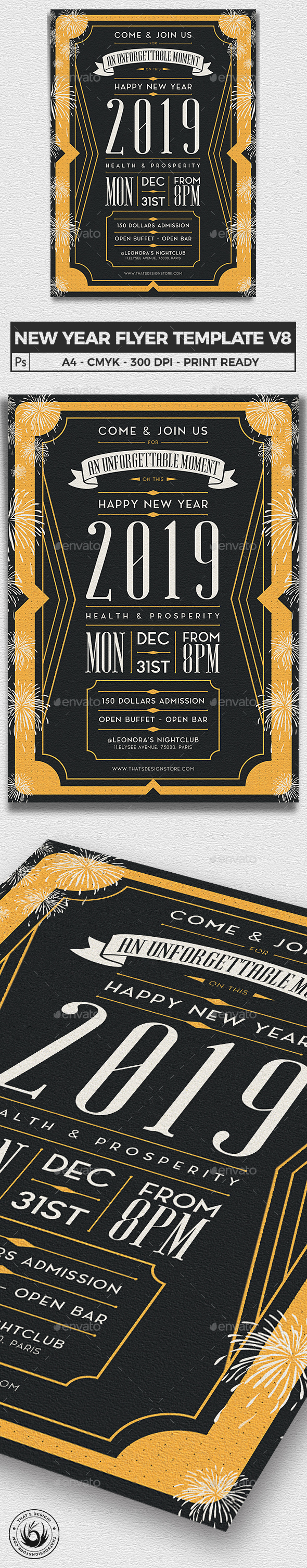 New Year Flyer Template V8 - Clubs & Parties Events