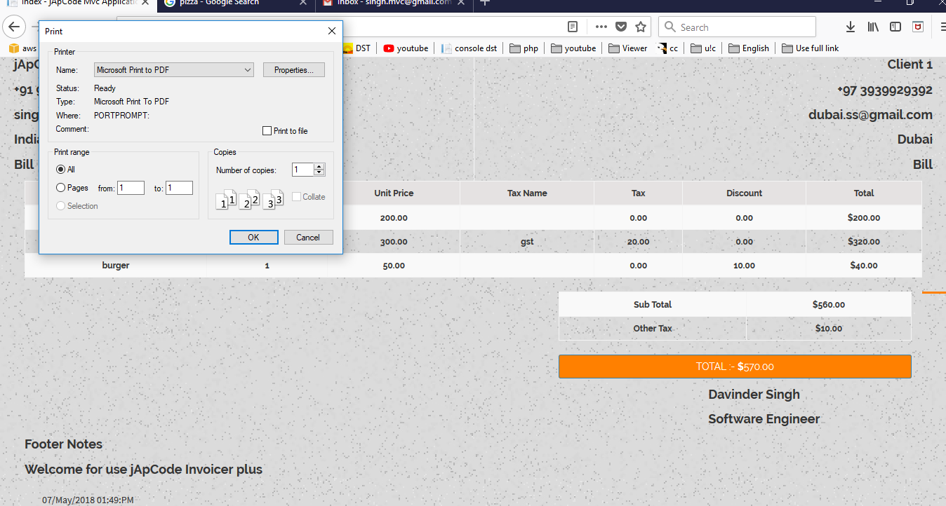 Invoicer Plus (Invoice Generator) Open Source Asp net Mvc 5 Print | Email |  Edit able Invoice