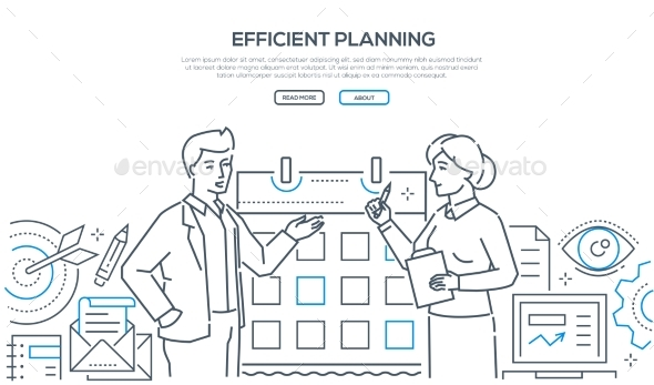 Efficient Planning - Colorful Line Design Style - Concepts Business