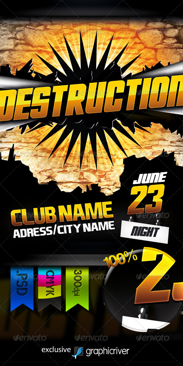 Destruction Night Flyer - Clubs & Parties Events