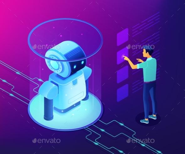 Robotics Data Analysis Concept Vector Isometric - Computers Technology