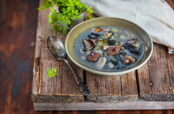 Delicious homemade wild mushrooms soup on rustic wooden backgrou - Stock Photo - Images