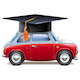Vector Red Car with Square Academic Cap - GraphicRiver Item for Sale