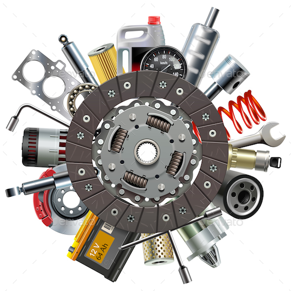 Vector Car Spares Concept with Clutch Disc - Industries Business