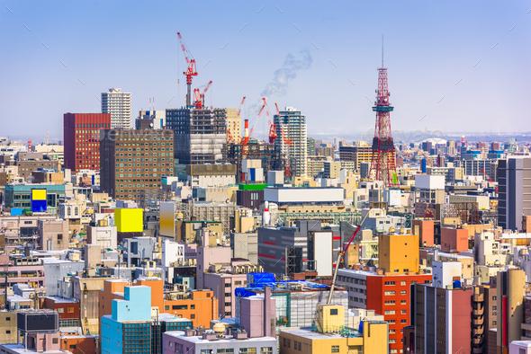 Sapporo, Japan Skyline - Stock Photo - Images