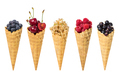 Set of assorted berries fruit in waffle ice cream cone isolated - PhotoDune Item for Sale