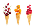 Set of assorted berries and fruit in waffle ice cream cone. Conc - PhotoDune Item for Sale