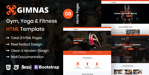 Gimnas – Gym, Yoga & Fitness HTML Template