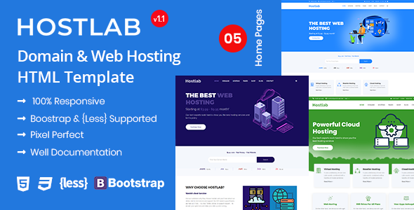 Hostlab - Domain, Web Hosting & WHMCS HTML Template
