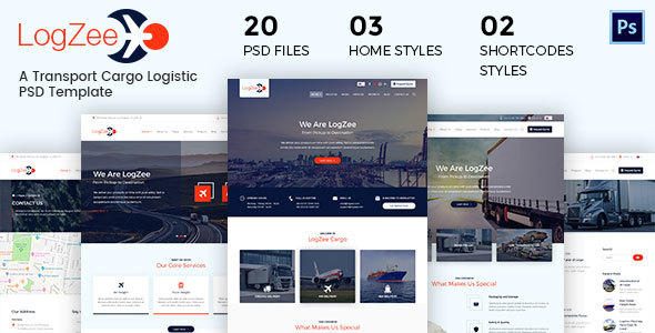 Logzee - A Logistic Cargo PSD Template - Business Corporate