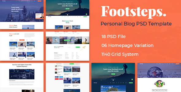 Footstep Personal Blog PSD Template - Personal PSD Templates