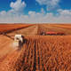 Aerial view of combine harvester in cornfield - PhotoDune Item for Sale
