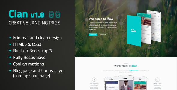 Cian - Landing Page Template + Coming Soon - Landing Pages Marketing