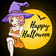 Halloween Card with Young Witch - GraphicRiver Item for Sale