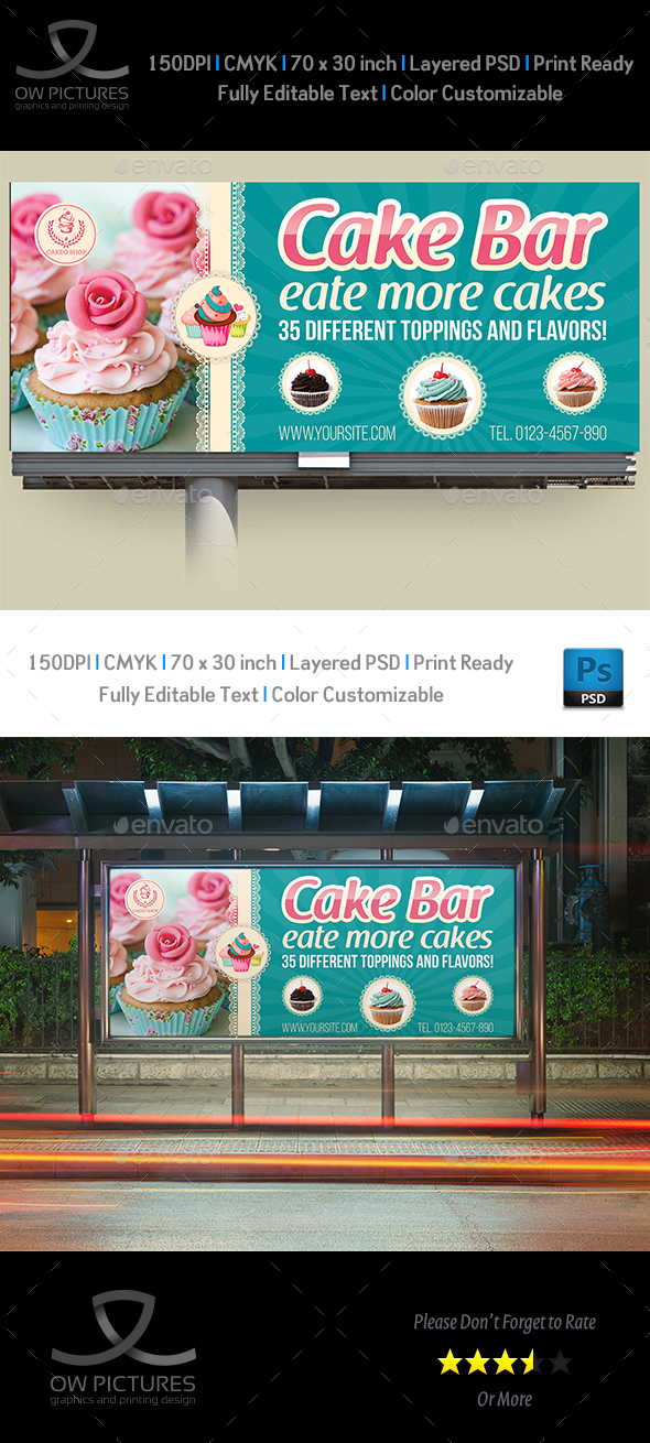 Cake Shop Billboard Template Vol.5 - Signage Print Templates