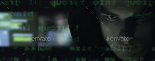Cool your hacker portrait in the dark - Stock Photo - Images