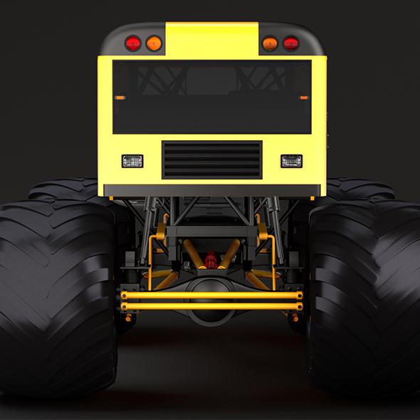 Monster Truck School Bus - 3DOcean Item for Sale