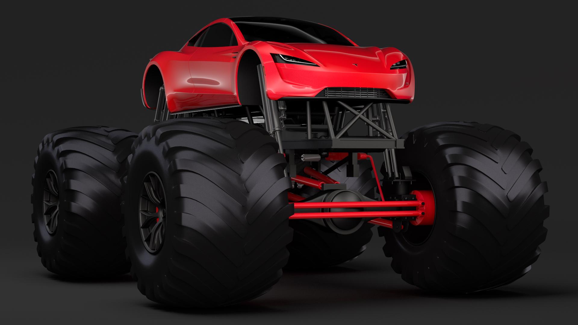 Monster Truck Tesla Roadster By Creator 3d 3docean