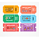Cartoon Color Different Tickets Icon Set - GraphicRiver Item for Sale