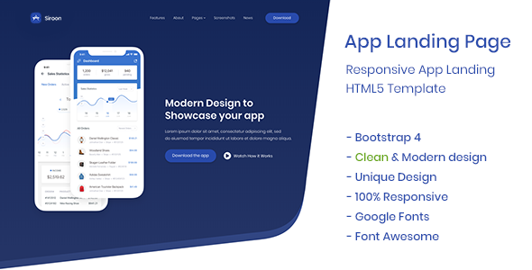 App Landing Page - Siroon - Technology Site Templates