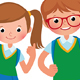 Two Students of Elementary School - GraphicRiver Item for Sale