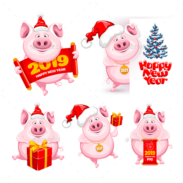 Set of Pigs - Animals Characters