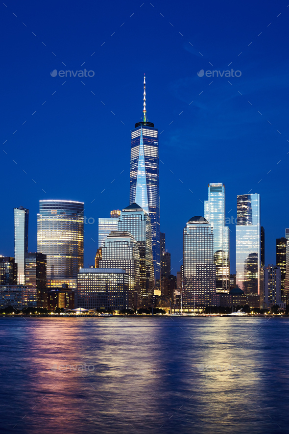 Manhattan skyline at blue hour, New York City. - Stock Photo - Images