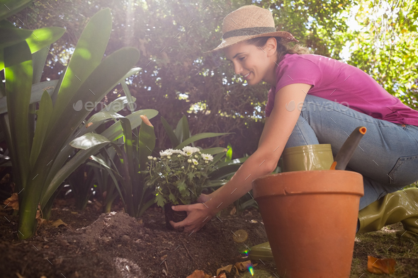 Side view of smiling woman planting flowers while crouching - Stock Photo - Images