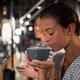 Beautiful woman smelling coffee - PhotoDune Item for Sale