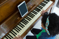 Girl playing piano with digital tablet - PhotoDune Item for Sale