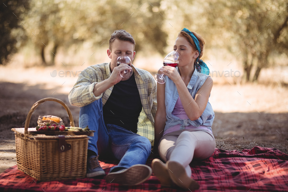 Young couple drinking red wine while sitting at farm - Stock Photo - Images