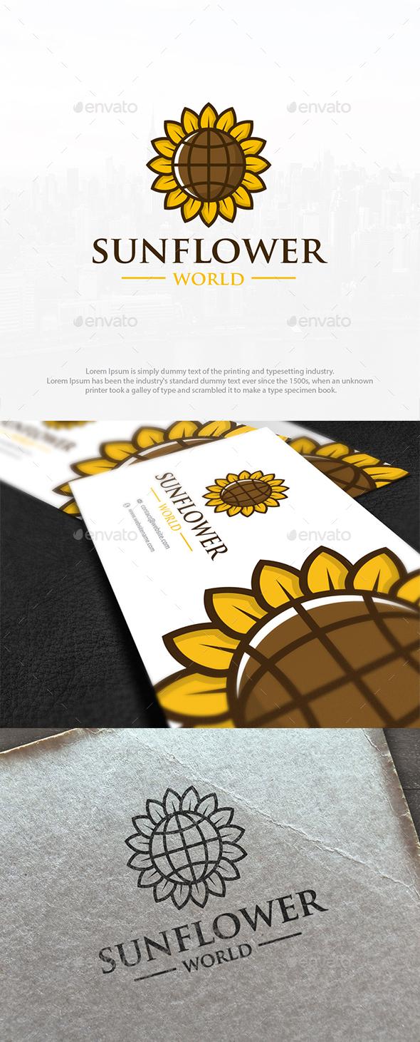 Sunflower World Logo Template - Nature Logo Templates