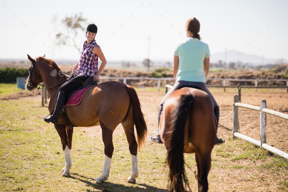 Female friends horseback riding on field - Stock Photo - Images