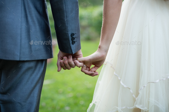 Wedding couple holding hands in garden - Stock Photo - Images